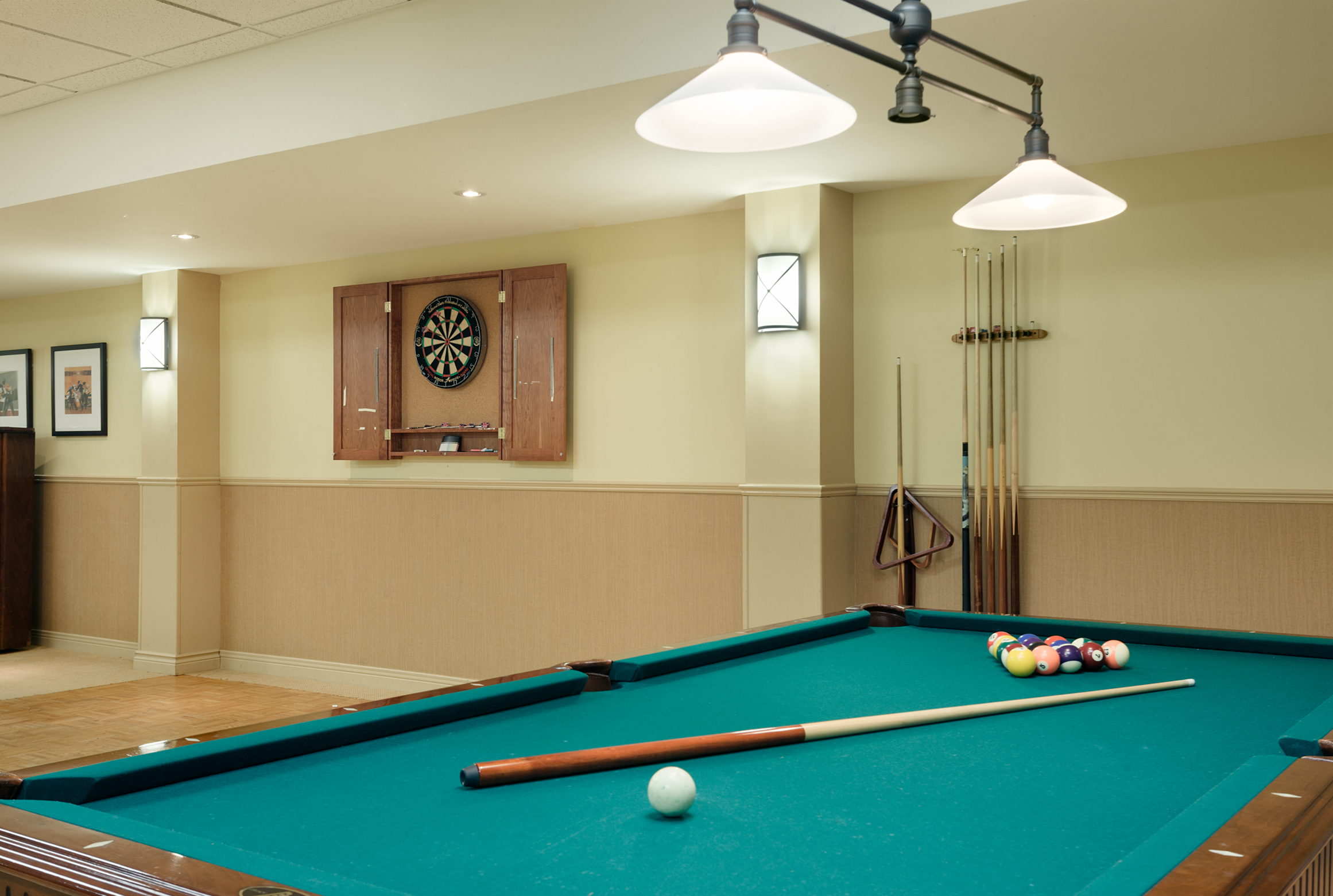 The entertainment area of Bearbrook Retirement Residence in Ottawa