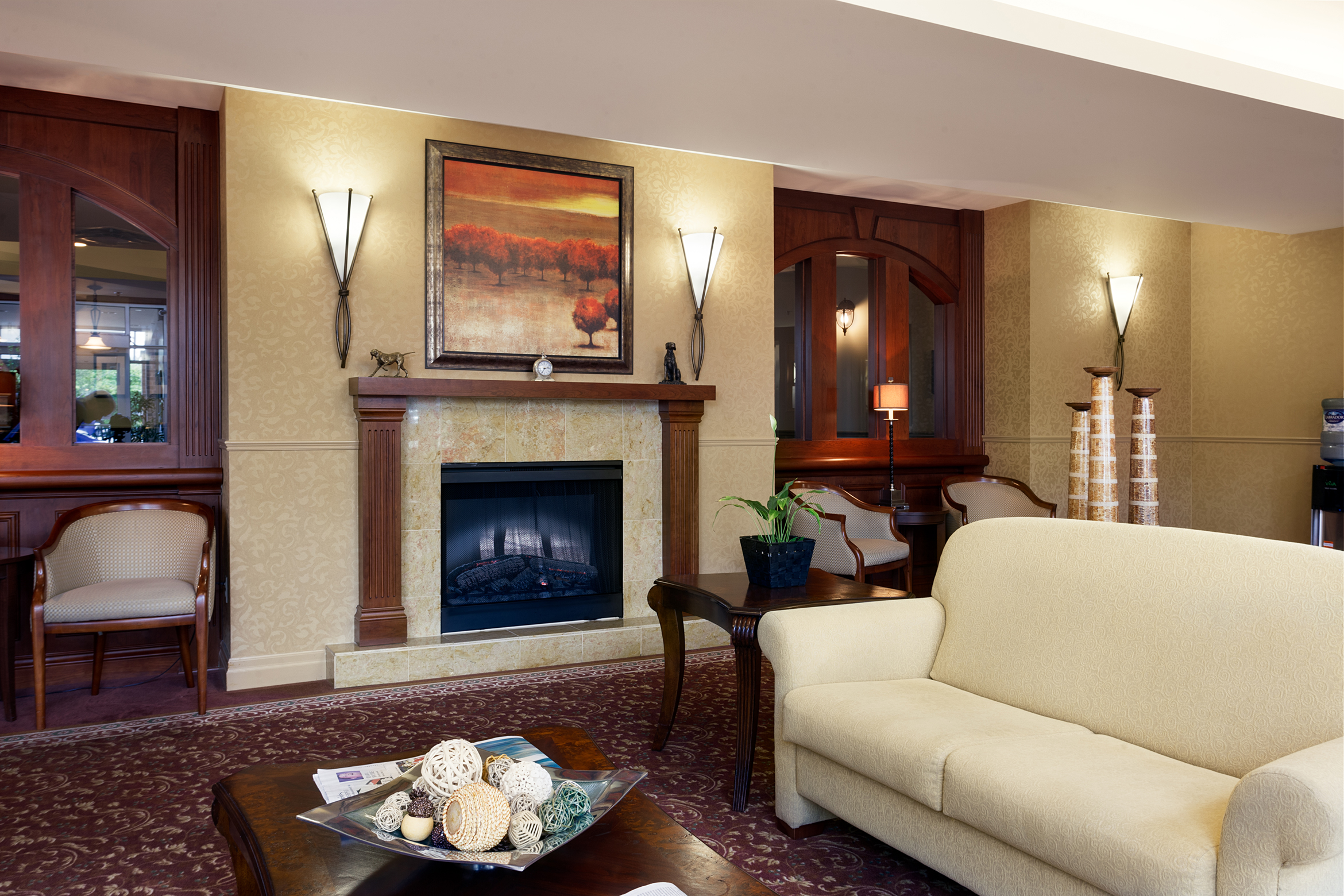 The lounge area of Bearbrook Retirement Residence in Ottawa