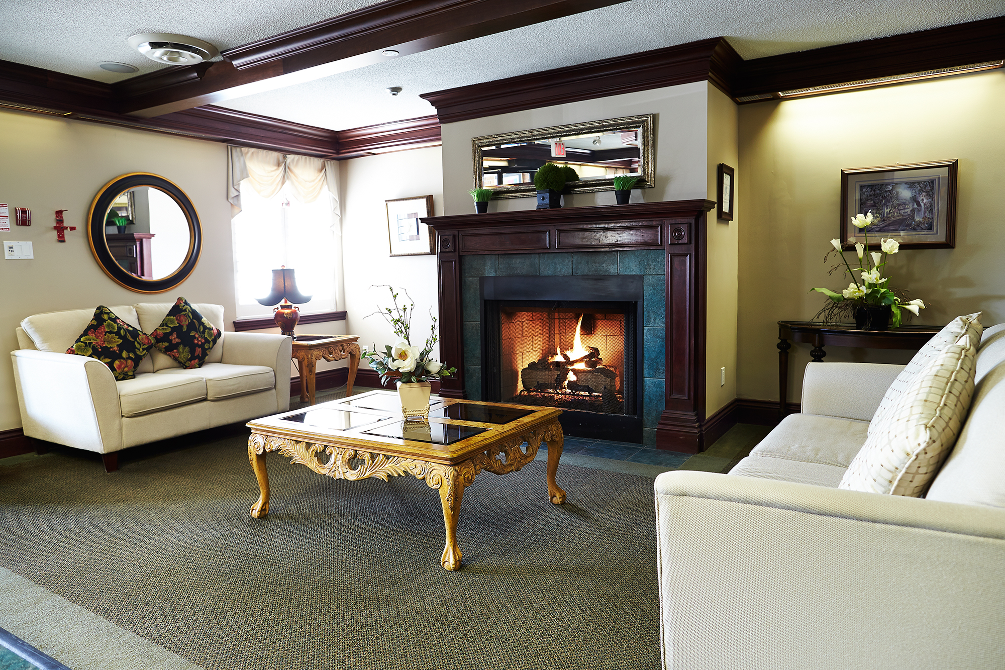 The fire place at Heatherwood Retirement Residence in St. Catharines