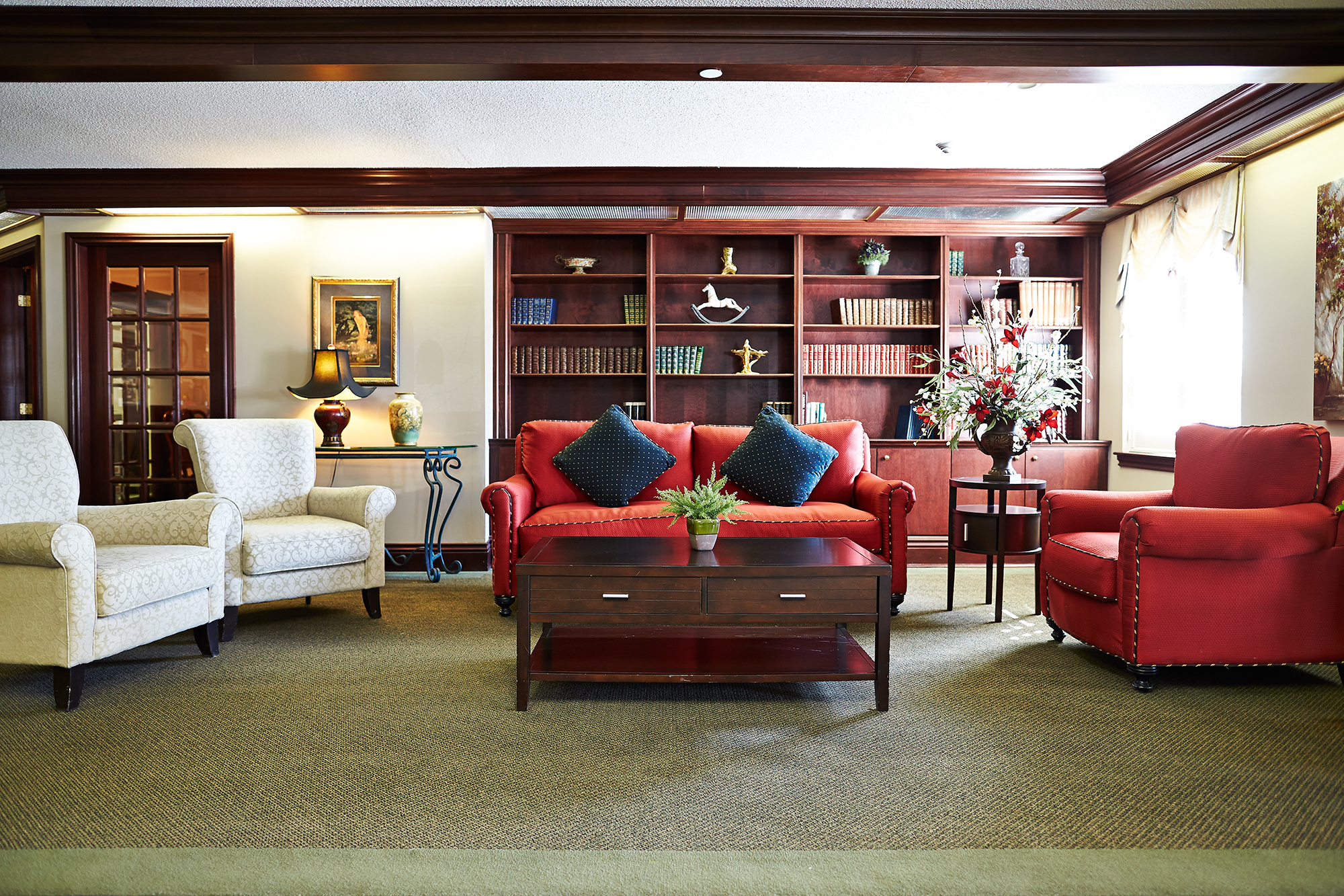 The library of Heatherwood Retirement Residence in St. Catharines