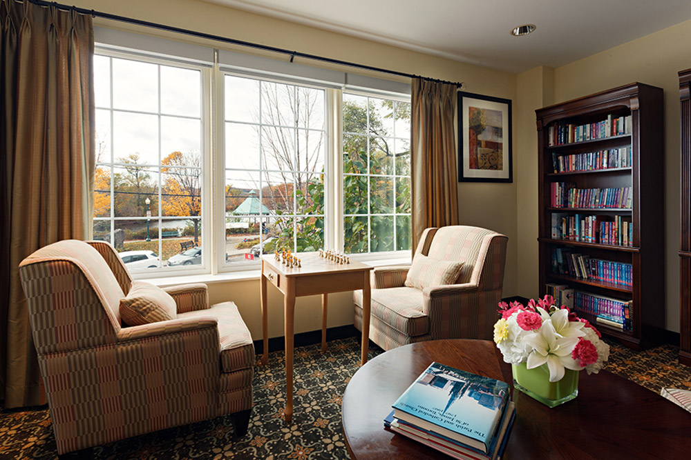 The library at Martindale Gardens Retirement Residence in Milton