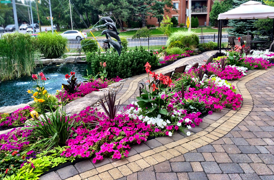 Beautiful garden pond at Waterford Barrie Retirement Residence